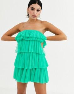 Зеленое платье мини с ярусными оборками Lace & Beads-Зеленый
