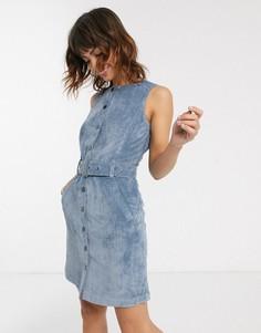 Синее вельветовое платье мини с поясом Esprit-Синий