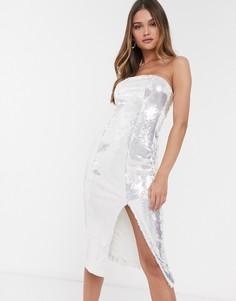 Серебристое платье-бандо миди с пайетками River Island-Серебряный