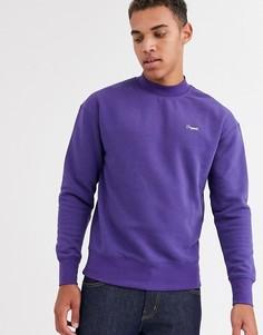 Фиолетовый свитшот с круглым вырезом, логотипом и заниженной линией плеч Jack & Jones Originals