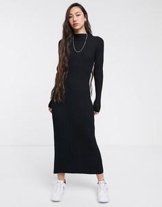 Черное трикотажное платье макси в рубчик Weekday-Черный