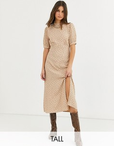 Платье миди в горошек с разрезом New Look Tall-Коричневый