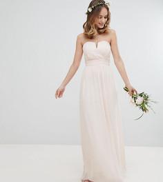Платье макси с лифом-бандо TFNC Petite-Розовый