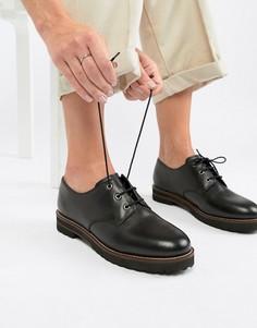 Кожаные туфли со шнуровкой на плоской подошве ASOS DESIGN-Черный