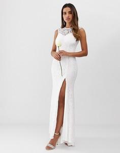Кружевное свадебное платье с разрезом до бедра Club L-Белый