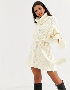 Платье-джемпер с отворачивающимся воротом Free People For The Love Of Cables-Белый