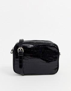Черная сумка с эффектом крокодиловой кожи Stradivarius-Черный