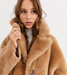 Двустороннее пальто из овечьей шерсти Urbancode-Коричневый