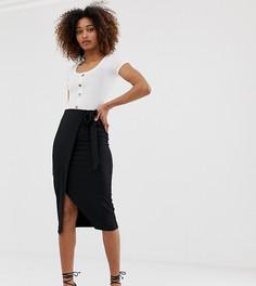 Черная юбка с завязкой сбоку Miss Selfridge-Черный