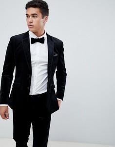 Приталенный премиум-пиджак из бархата Jack & Jones-Черный