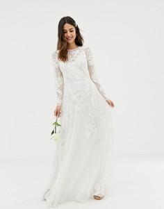 Свадебное платье с вышивкой ASOS EDITION-Зеленый