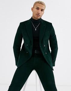 Зеленый вельветовый пиджак River Island