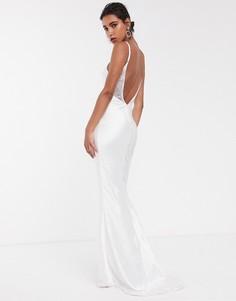 Атласное свадебное платье на бретелях со шлейфом ASOS EDITION-Белый