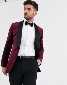 Бордовый бархатный блейзер Burton Menswear-Красный