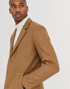 Шерстяное пальто верблюжьего цвета Jack & Jones Premium-Светло-коричневый