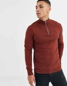 Джемпер рыжего цвета с молнией Topman-Mat