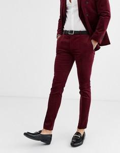 Вельветовые бордовые брюки супероблегающего кроя Topman-Красный