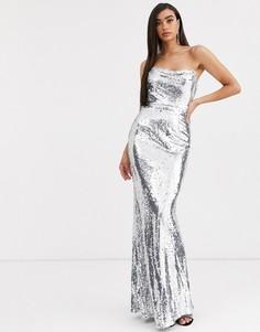 Серебристое корсетное платье с пайетками Bariano-Серебряный