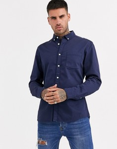 Темно-синяя эластичная джинсовая рубашка из органического хлопка ASOS DESIGN-Темно-синий
