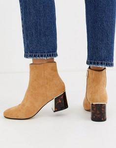 Светло-коричневые замшевые ботинки на черепаховом каблуке River Island-Светло-коричневый