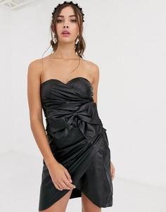 Черное платье мини бандо из полиуретана с бантом Collective The Label-Черный