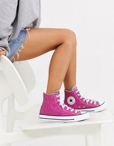 Высокие розовые кроссовки с блестками Converse Chuck Taylor-Розовый