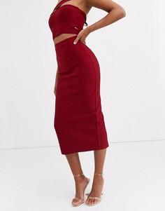 Бандажная юбка макси ягодного цвета Band Of Stars-Красный