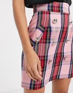 Розовая юбка-трапеция мини в клетку River Island-Розовый