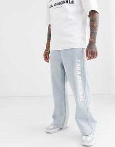 Голубые джинсы с широкими штанинами и логотипом Taka Original-Синий