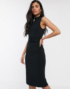 Черное платье в стиле милитари с поясом River Island-Черный