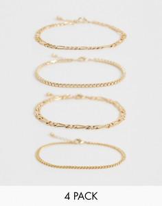 Золотистый браслет-цепочка ASOS DESIGN-Золотой