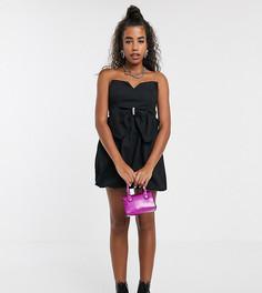 Платье мини с бантиком и отделкой стразами One Above Another-Черный