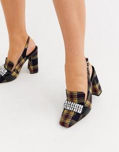 Лоферы в клетку на каблуке с квадратным носком ASOS DESIGN Peggy-Мульти