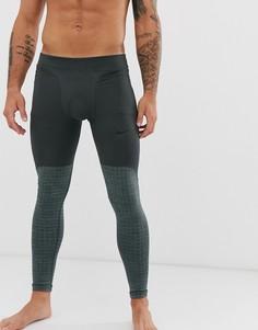 Серые леггинсы в стиле милитари Nike Pro Training therma-Серый