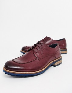 Кожаные бордовые туфли на шнуровке и массивной подошве для широкой стопы Silver Street-Красный