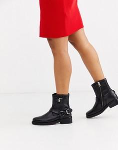 Кожаные байкерские ботинки AllSaints-Черный