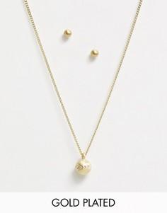 Позолоченные серьги и ожерелье Pilgrim-Золотой