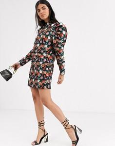 Жаккардовое платье мини с эффектом металлик Lost Ink-Мульти