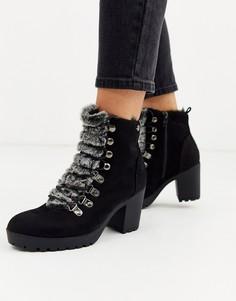 Походные ботинки на массивной подошве и каблуке XTI-Черный