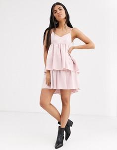 Платье на бретелях с ярусной юбкой Lost Ink-Розовый