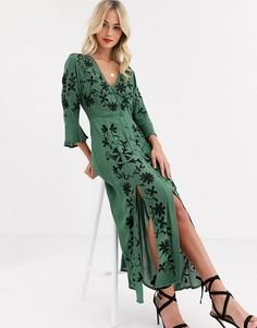 Платье макси с вышивкой ASOS DESIGN-Зеленый