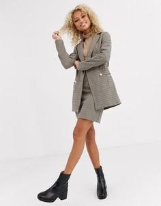"""Короткая юбка-трапеция коричневого цвета в \елочку\"""" Parisian-Коричневый"""
