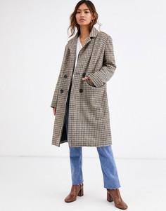 Двубортное пальто в клетку QED London-Мульти