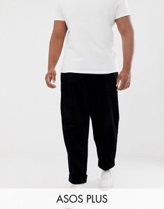 Черные широкие вельветовые брюки со складками ASOS DESIGN Plus-Черный