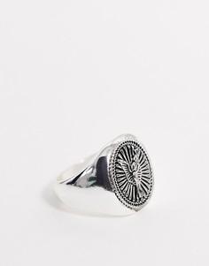 Серебристое кольцо с печаткой в религиозном стиле ASOS DESIGN-Серебряный