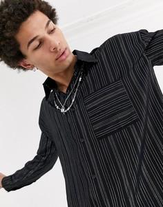 Черная рубашка с длинными рукавами в тонкую полоску металлик Jaded London-Черный