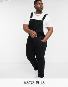 Черный джинсовый комбинезон ASOS DESIGN Plus