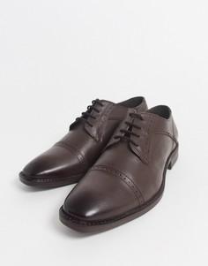 Коричневые кожаные туфли со вставкой на носке Redfoot-Коричневый
