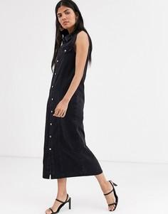 Джинсовое платье макси на пуговицах Lost Ink-Черный