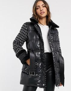 Черная дутая куртка с поясом River Island-Черный